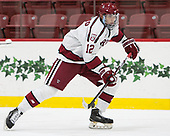 John Marino (Harvard - 12) - The Harvard University Crimson defeated the US National Team Development Program's Under-18 team 5-2 on Saturday, October 8, 2016, at the Bright-Landry Hockey Center in Boston, Massachusetts.