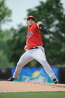 Harrisburg Senators pitcher Paulo Espina (14) during the game against the Trenton Thunder at ARM & HAMMER Park on May 21, 2014 in Trenton, New Jersey.  Harrisburg defeated Trenton 9-0.  (Tomasso DeRosa/Four Seam Images)