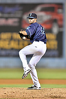 Beer City Tourists pitcher Braxton Lorenzini (26) delivers a pitch during a game against the Greenville Drive at McCormick Field on May 24, 2018 in Asheville, North Carolina. The Tourists defeated the Drive 4-2. (Tony Farlow/Four Seam Images)