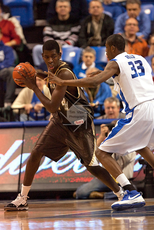 February 3,  2010             St. Bonaventure forward Andrew Nicholson (44) holds the ball away from Saint Louis forward Willie Reed (33) in the first half.   The St. Louis University Billikens hosted the St. Bonaventure Bonnies on Wednesday February 3, 2010 at Chaifetz Arena, near downtown St. Louis, Missouri..