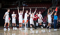 STANFORD, CA - January 17, 2019: Stephen Moye, Chris Moore, Cole Paullin, Leo Henken, Justin Lui, Russell Dervay, Eli Wopat, Mason Tufuga at Maples Pavilion. The Stanford Cardinal defeated UC Irvine 27-25, 17-25, 25-22, and 27-25.