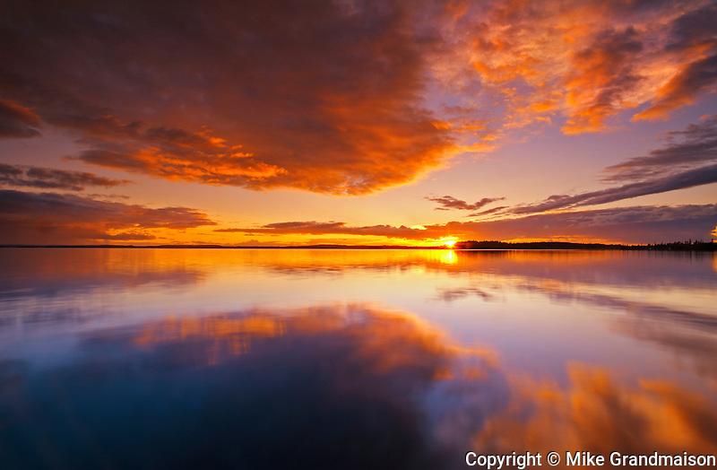 CLouds reflected in Pakwash Lake at sunset<br /> Pakwash Lake Provincial Park<br /> Ontario<br /> Canada