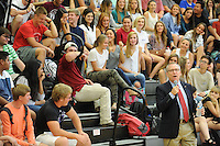 NWA Democrat-Gazette/ANDY SHUPE<br /> Jeff Long (right), athletics director at the University of Arkansas, speaks Wednesday, Sept. 2, 2015, to a group of juniors at Fayetteville High School. Long spoke during students' seventh-period advisory period about his career as a student, as a coach and athletics director, encouraging students to pursue their dreams and their education.