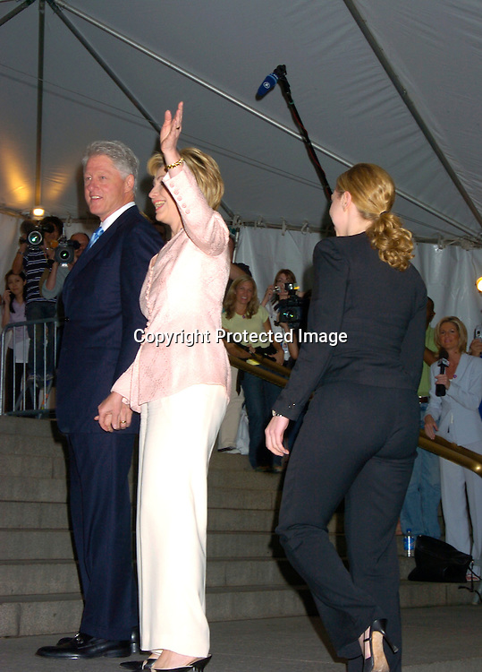 """Bill and Hillary Clinton and Chelsea ..at the Book party for Bill Clinton's autobiography titled """" My Life """" on June 21, 2004 at the Metorpolitan Museum of Art in New York City. ..Photo by Robin Platzer, Twin Images"""