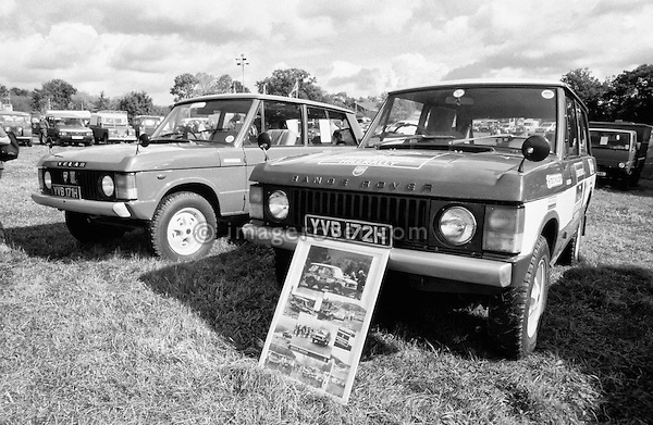 Very early 1970 Range Rover, Registration YVB 172H and YVB 171H, Engine 3.5 ltr V8 petrol. Dunsfold Open Day 2002. No releases vailable, but releases may not be necessary for certain uses. Automotive trademarks are the property of the trademark holder, authorization may be needed for some uses. --- Info: YVB Range Rovers are part of the 28 Range Rover pre-production prototypes bulit in 1970 prior to its launch in June 1970.