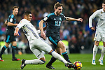 Real Madrid's midfielder Carlos Henrique Casemiro and Real Sociedad's defender Inigo Martinez during the match of La Liga between Real Madrid and   Real Sociedad at Santiago Bernabeu Stadium in Madrid, Spain. January 29th 2017. (ALTERPHOTOS/Rodrigo Jimenez)