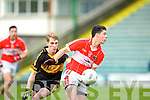 In Action Dr. Crokes Gavin O'Shea and Dingle's Micheal Flannery at the Dingle V Dr Crokes in the Senior Club Championship Semi Final at Austin Stack Park on Saturday