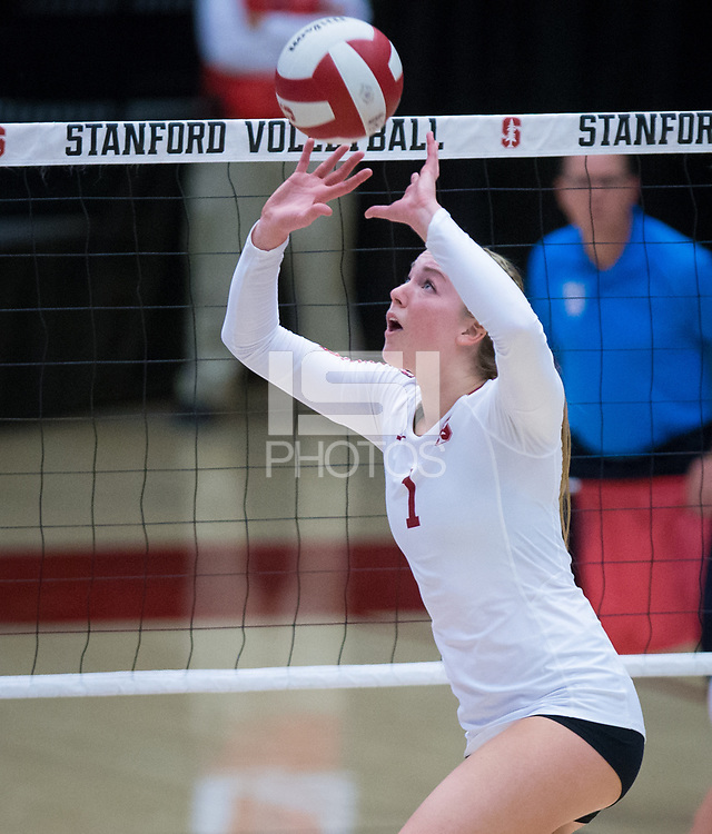 STANFORD, CA - October 12, 2018: Jenna Gray at Maples Pavilion. No. 2 Stanford Cardinal swept No. 21 Washington State Cougars, 25-15, 30-28, 25-12.