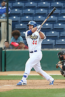 Joey Curletta (44) of the Rancho Cucamonga Quakes bats during a game against the Visalia Rawhide at LoanMart Field on May 6, 2015 in Rancho Cucamonga, California. Visalia defeated Rancho Cucamonga, 7-2. (Larry Goren/Four Seam Images)