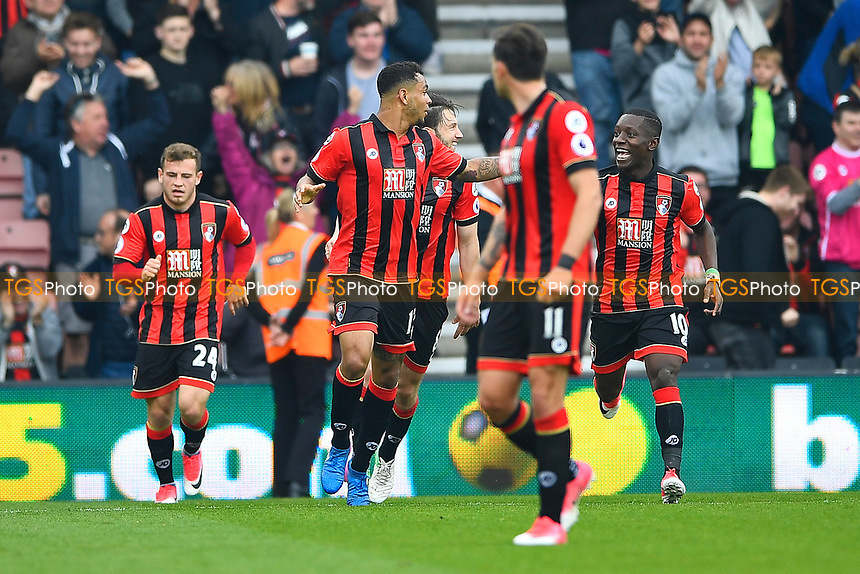 Joshua King of AFC Bournemouth middle celebrates his goal with Max Gradel of AFC Bournemouth  right during AFC Bournemouth vs Stoke City, Premier League Football at the Vitality Stadium on 6th May 2017