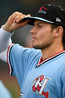 Second baseman Kole Enright (22) of the Hickory Crawdads waits for the start of a game against the Greenville Drive on Monday, August 20, 2018, at Fluor Field at the West End in Greenville, South Carolina. Hickory won, 11-2. (Tom Priddy/Four Seam Images)