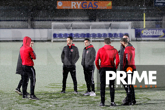 Fleetwood Town FC players gather pre-match during the Sky Bet League 1 match between AFC Wimbledon and Fleetwood Town at the Cherry Red Records Stadium, Kingston, England on 22 January 2019. Photo by Carlton Myrie / PRiME Media Images.