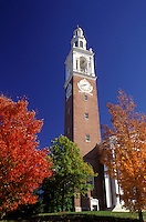 AJ1074, Vermont, University, Burlington, The Ira Adler Chapel, clock tower, at the University of Vermont in the fall in Burlington.