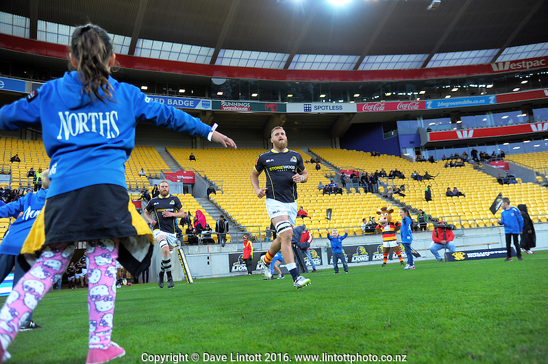 Brad Shields leads the Lions out for the Mitre 10 Cup rugby union match between Wellington Lions and Waikato at Westpac Stadium in Wellington, New Zealand on Saturday, 15 October 2016. Photo: Dave Lintott / lintottphoto.co.nz