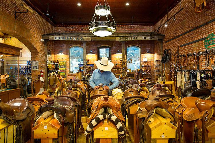 Cowboys from Idaho shopping for saddles and hats at Hamleys, a leather goods and Western wear shop, Cafe and Restaurant in downtown Pendleton, Oregon