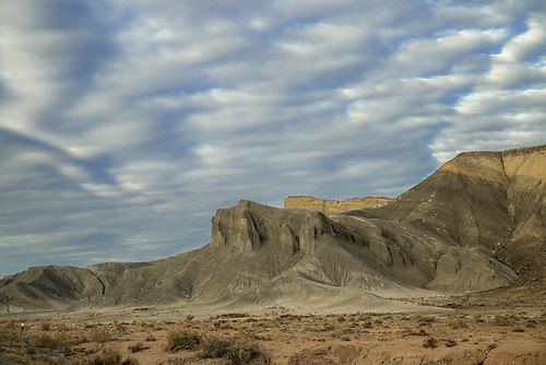 Colorful rock formations and mesas make up the Caineville Reef near Capital Reef National Park, Utah