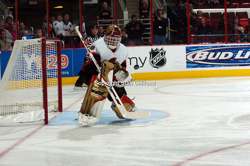 Ottawa Senators' goaltender Dominik Hasek of the Czech Republic makes a save during a game against the Carolina Hurricanes Tuesday, Nov. 22, 2005 in Raleigh, NC. Ottawa won 5-3.