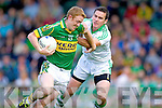Colm Cooper shakes Mark O'Riordan in the Muster Senior Semi final held in The Gaelic Grounds last Saturday evening.