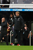 1st October 2017, St James Park, Newcastle upon Tyne, England; EPL Premier League football, Newcastle United versus Liverpool; Jurgen Klopp Manager of Liverpool with his hands open taking to his players in the 1-1 draw