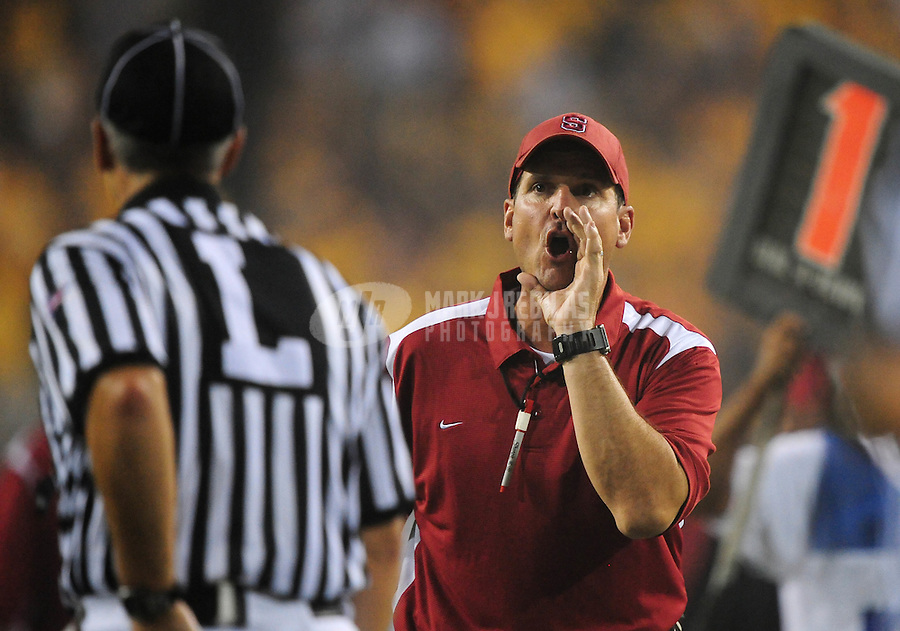 Sept 6, 2008; Tempe, AZ, USA; Stanford Cardinal head coach Jim Harbaugh yells at a referee against the Arizona State University Sun Devils at Sun Devil Stadium. Mandatory Credit: Mark J. Rebilas-