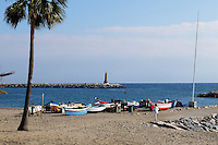 Beach, boats, lighthouse, Mediterranean, Puerto Banus, Marbella, Spain, October, 2015. 201511121793<br />