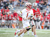 College Park, MD - April 22, 2018: Maryland Terrapins Connor Kelly (1) pasees the ball during game between Ohio St. and Maryland at  Capital One Field at Maryland Stadium in College Park, MD.  (Photo by Elliott Brown/Media Images International)