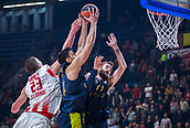 22nd March 2018, Aleksandar Nikolic Hall, Belgrade, Serbia; Turkish Airlines Euroleague Basketball, Crvena Zvezda mts Belgrade versus Fenerbahce Dogus Istanbul; Center Alan Omic of Crvena Zvezda mts Belgrade fights for the ball against Center Ahmet Duverioglu of Fenerbahce Dogus Istanbul and Forward Luigi Datome of Fenerbahce Dogus Istanbul