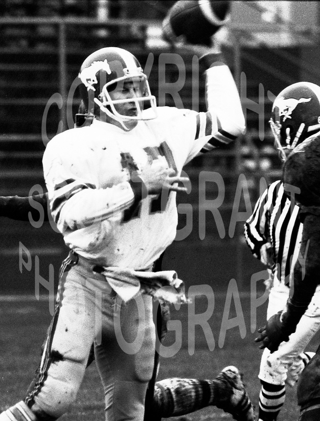 Bruce Threadgill Calgary Stampeders quarterback 1981. Photo Scott Grant