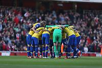 Southampton huddle before Arsenal vs Southampton, Premier League Football at the Emirates Stadium on 24th February 2019