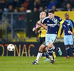 Nederland, Breda, 23 november 2012.Seizoen 2012-2013.Eredivisie .NAC Breda-ADO Den Haag.Anthony Lurling (l.) van NAC Breda en Danny Holla (r.) van ADO Den Haag strijden om de bal.