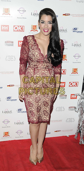 Ruth Lorenzo.The OK! magazine Christmas party, Sway Bar, London, England..November 27th, 2012.full length red maroon burgundy lace dress .CAP/CAN.©Can Nguyen/Capital Pictures.