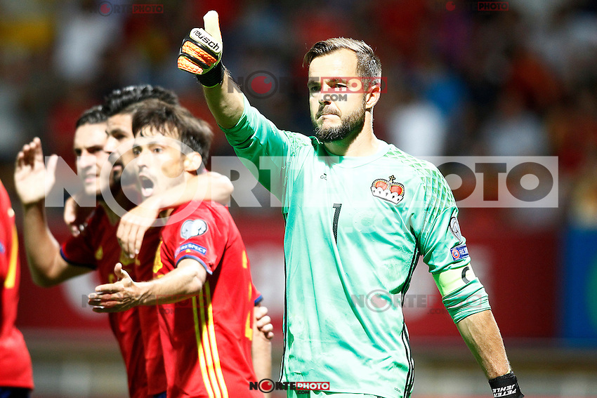 Spain's Koke Resurreccion, Nolito and David Silva and Liechtenstein's   Peter Jehle during FIFA World Cup 2018 Qualifying Round match. September 5,2016.(ALTERPHOTOS/Acero) /NORTEPHOTO