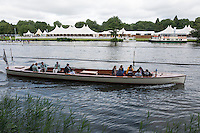 Henley on Thames. United Kingdom.  Umpires Launch, moving towards the start.    Thursday,  30/06/2016,      2016 Henley Royal Regatta, Henley Reach.   [Mandatory Credit Peter Spurrier/ Intersport Images]