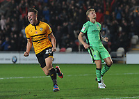 Newport County's Cameron Pring celebrates scoring his side's second goal<br /> <br /> Photographer Kevin Barnes/CameraSport<br /> <br /> The EFL Sky Bet League Two - Newport County v Colchester United - Saturday 17th November 2018 - Rodney Parade - Newport<br /> <br /> World Copyright © 2018 CameraSport. All rights reserved. 43 Linden Ave. Countesthorpe. Leicester. England. LE8 5PG - Tel: +44 (0) 116 277 4147 - admin@camerasport.com - www.camerasport.com