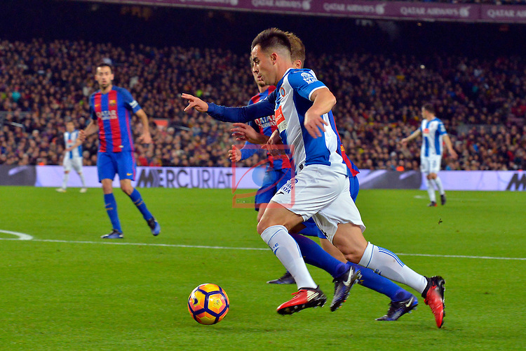 League Santander 2016/2017. Game: 16.<br /> FC Barcelona vs RCD Espanyol: 4-1.<br /> Denis Suarez vs Jose Manuel Jurado.
