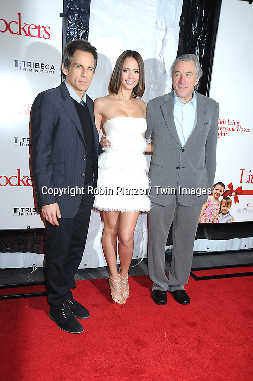 "Ben Stiller, Jessica Alba and Robert De Niro at the World Premiere of ""Little Fockers"",.benefiting the not-for-profit tribeca Film Institute on December 15, 2010 at The .Ziegfeld Theatre in New York City."