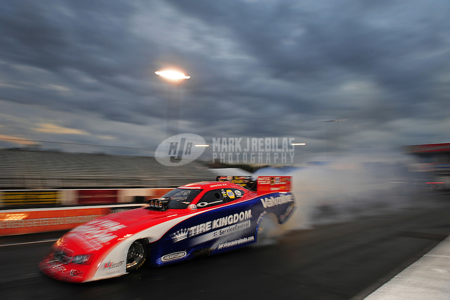 Jan. 18, 2012; Jupiter, FL, USA: NHRA funny car driver Johnny Gray during testing at the PRO Winter Warmup at Palm Beach International Raceway. Mandatory Credit: Mark J. Rebilas-