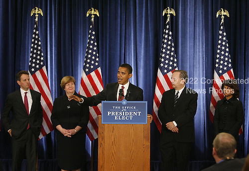Chicago, IL - November 24, 2008 -- United States President-elect Barak Obama (C) introduces his economic team during a news conference on Monday, November 24, 2008 in Chicago. Obama named Treasury Secretary-designate Timothy Geithner, (from left) Council of Economic Advisers Chair-designate Christina Romer, National Economic Council Director-designate Lawrence Summers and White House Domestic Policy Council Director-designate Melody Barnes. .Credit: Brian Kersey - Pool via CNP
