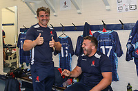 London Scottish players prepare ahead of the Greene King IPA Championship match between London Scottish Football Club and Ealing Trailfinders at Richmond Athletic Ground, Richmond, United Kingdom on 8 September 2018. Photo by David Horn.