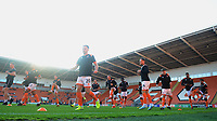 Blackpool players during the pre-match warm-up  <br /> <br /> Photographer Kevin Barnes/CameraSport<br /> <br /> The Carabao Cup First Round - Blackpool v Macclesfield Town - Tuesday 13th August 2019 - Bloomfield Road - Blackpool<br />  <br /> World Copyright © 2019 CameraSport. All rights reserved. 43 Linden Ave. Countesthorpe. Leicester. England. LE8 5PG - Tel: +44 (0) 116 277 4147 - admin@camerasport.com - www.camerasport.com