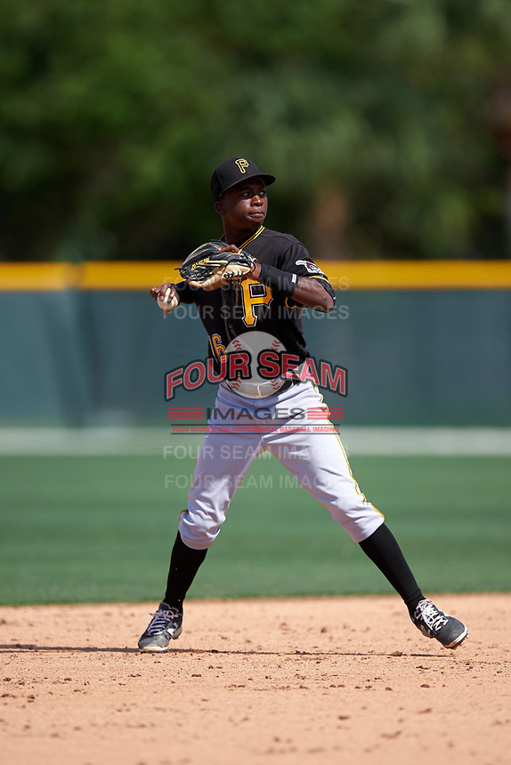 Pittsburgh Pirates Victor Ngoepe (16) during a minor league Spring Training intrasquad game on April 3, 2016 at Pirate City in Bradenton, Florida.  (Mike Janes/Four Seam Images)