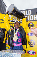Oct 30, 2016; Las Vegas, NV, USA; NHRA top fuel driver Antron Brown celebrates after clinching championship during the Toyota Nationals at The Strip at Las Vegas Motor Speedway. Mandatory Credit: Mark J. Rebilas-USA TODAY Sports