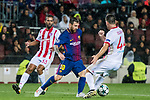 Lionel Andres Messi (l) of FC Barcelona fights for the ball with Sasa Zdjelar of Olympiacos FC during the UEFA Champions League 2017-18 match between FC Barcelona and Olympiacos FC at Camp Nou on 18 October 2017 in Barcelona, Spain. Photo by Vicens Gimenez / Power Sport Images