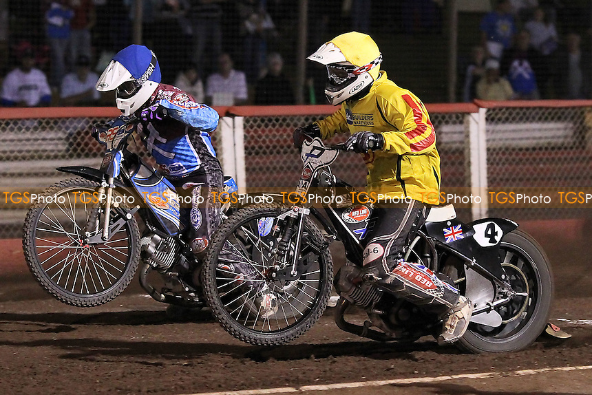 Heat 10: Stuart Robson (blue) and Ricky Ashworth off the start - Lakeside Hammers vs Birmingham Brummies - Sky Sports Elite League Speedway at Arena Essex Raceway, Purfleet - 10/08/12 - MANDATORY CREDIT: Gavin Ellis/TGSPHOTO - Self billing applies where appropriate - 0845 094 6026 - contact@tgsphoto.co.uk - NO UNPAID USE.