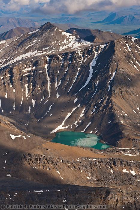 Aerial of the Brooks Range mountains, arctic Alaska.