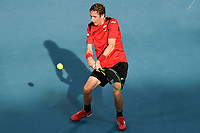 10th January 2020; Sydney Olympic Park Tennis Centre, Sydney, New South Wales, Australia; ATP Cup Australia, Sydney, Day 8; Belgium versus Spain; Kimmer Coppejans of Belgium versus Roberto Bautista Agut of Spain; Kimmer Coppejans of Belgium hits a backhand to Roberto Bautista Agut of Spain - Editorial Use