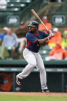 Boston Red Sox outfielder Jackie Bradley Jr. (25) during a spring training game against the Baltimore Orioles on March 24, 2014 at Ed Smith Stadium in Sarasota, Florida.  The game was called due to rain.  (Mike Janes/Four Seam Images)