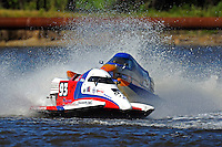 Frame 1: #42 rides up and over the roostertail of leader R.J. West, (#93) during the final heat.   (SST-45 class)