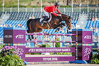 BEL-Niels Bruynseels rides Cas de Liberte during the First Competition - FEI World Team and Individual Jumping Championship. 2018 FEI World Equestrian Games Tryon. Tuesday 18 September. Copyright Photo: Libby Law Photography
