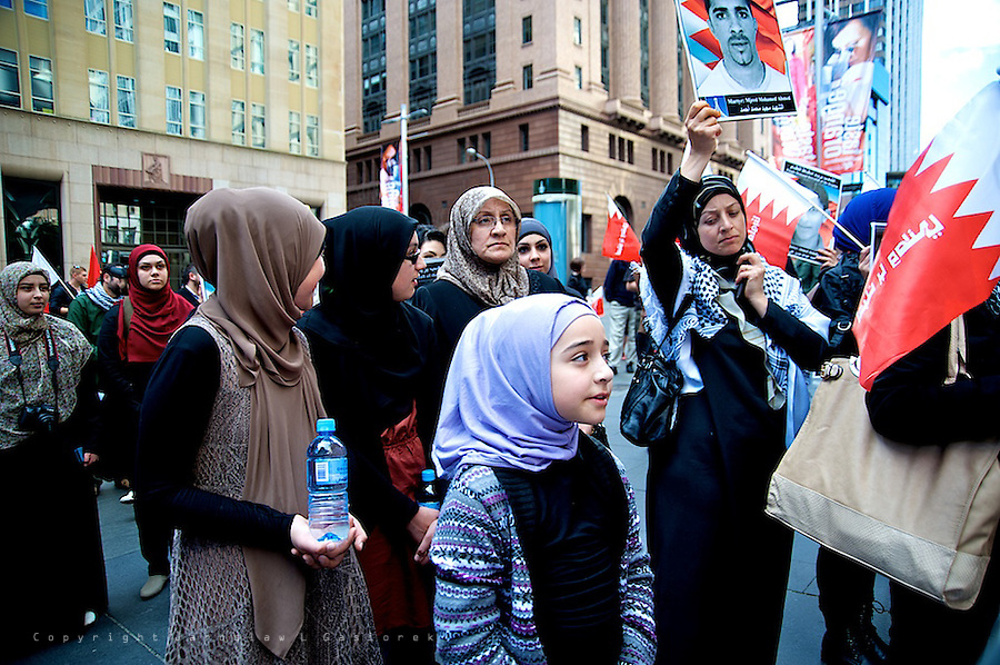 Pro-democracy protesters have gathered in Sydney's Hyde Park to show their support of Bahraini people against the Al Khalifa regime.